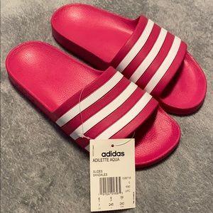 Adidas hot Pink Adilette Aqua Slidders size 7 US